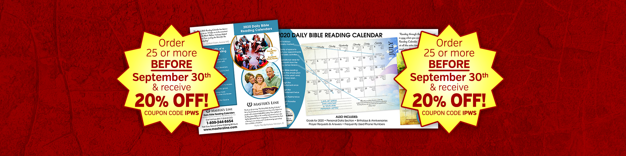 2019 Daily Bible Reading Calendar – by Master's Line